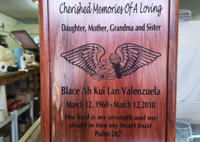 wooden plaque memorial