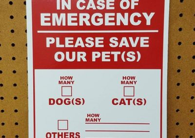 In Case of Emergency Sign